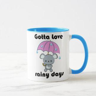 Mugg för dagar för för Kawaii mus och paraply