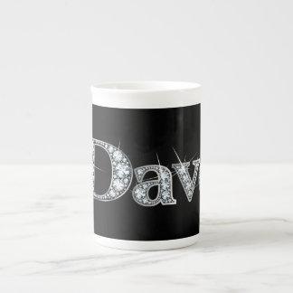 "Mugg för Dave ""diamantBling"" benporslin Tekopp"