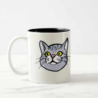 Mugg för grå färgtabby kattteckning