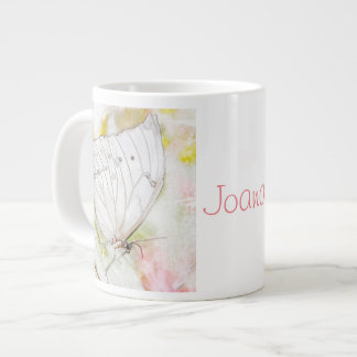 White Butterfly Watercolor Jumbo Mug