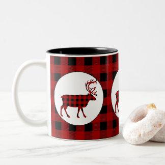 Mugg för kaffe för älg för Lumberjackmönsterland