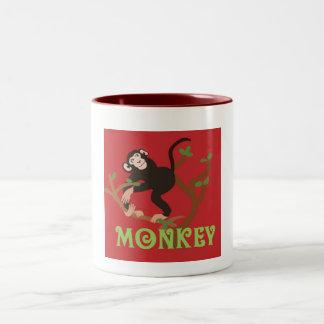 Mugg för kaffe för Mokey Pic-Zoo