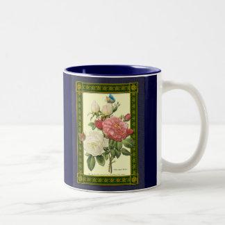 Mugg för kaffe för ro för röd vitvintage botanisk