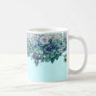 Mugg för kaffe för ro för shabby chicvintageblått