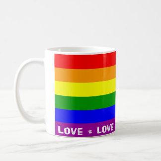 Mugg för kärlek- = kärlekregnbågeklassikervit
