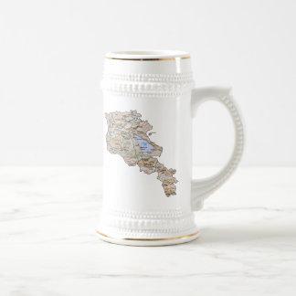 Mugg för karta för Armenien flagga~