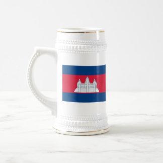 Mugg för karta för Cambodja flagga~