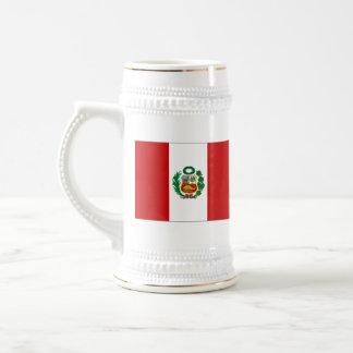 Mugg för karta för Peru flagga~