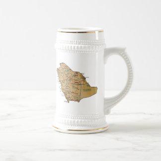 Mugg för karta för Saudiarabien flagga~