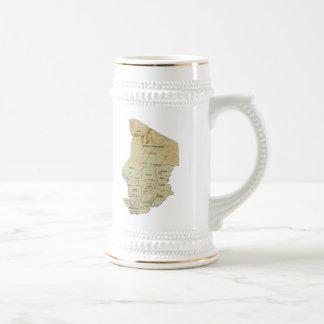 Mugg för karta för Tchad flagga~