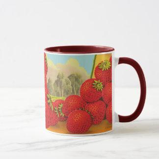 Mugg för konst för låda för jordgubbevintagekök