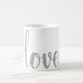 Mugg för silverkärlekkaffe, glitter