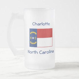 Mugg för stad för North Carolina flaggakarta