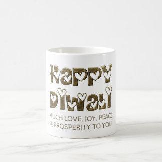 Mugg för typografi för hjärtor för lycklig Diwali