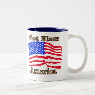 Mugg för välsigna digAmerika amerikanska flaggan