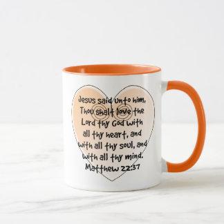 Mugg för Verse för bibel för hjärta för Matthew