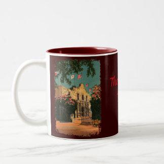 Muggen för Alamo vintageTexas kaffe Två-Tonad Mugg