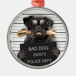 Mugshothund, rolig mops, mops julgransprydnad metall