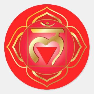 muladharaen eller rotar chakraklistermärken runt klistermärke