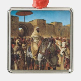 Muley Abd-ar-Rhaman, sultanen av Marocko Silverfärgad Fyrkantigt Julgransprydnad
