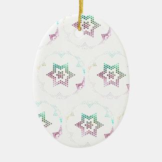 Multifärgadstjärnan pricker mönster ovalformad julgransprydnad i keramik