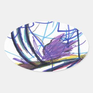 Multiperspective platser av en fantasi ovalt klistermärke