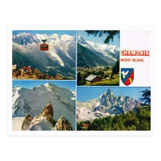 Multiview för fransk alperna för vintage, Chamonix Vykort
