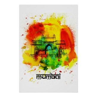 Mumbai-nyckel av denvattenfärg affischen poster