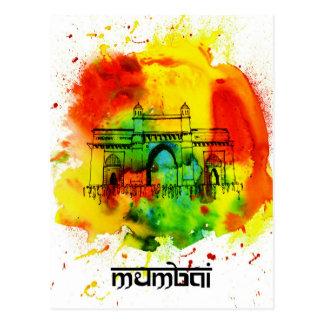 mumbai nyckel av india ljusa vattenfärger vykort