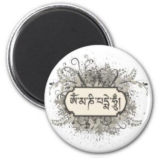 Mummelblommigt för Om Mani Padme Magnet Rund 5.7 Cm