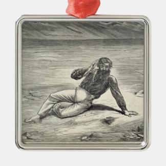 Mungo parkerar (1771-1806) uppmuntrat av sikten av julgransprydnad metall