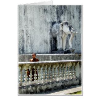 Munk & elefant hälsningskort
