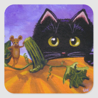 Mus Creationarts för nedgångHalloween svart katt Fyrkantigt Klistermärke
