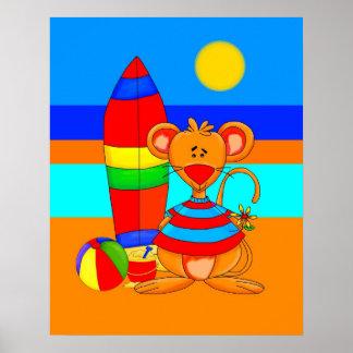 Mus för affischbarnkonst på stranden