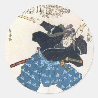 Musashi Miyamoto 宮本武蔵 med två Bokken Runt Klistermärke