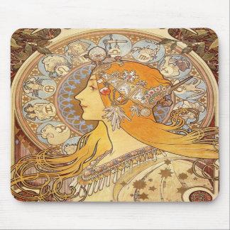 Musen för art nouveauAlphonse Mucha Zodiac vaddera Mus Matta