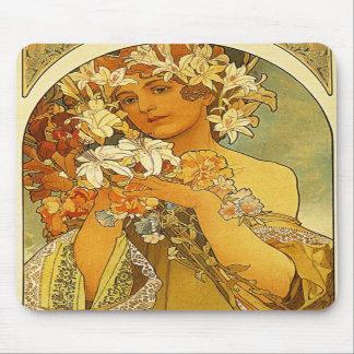 Musen för den art nouveauAlphonse Mucha blomman va Musmattor