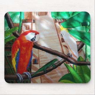 Musen för macawen för tropiska djungelfåglar vadde musmatta