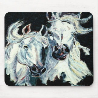 Musen för två hästar för vit vadderar den arabiska musmatta