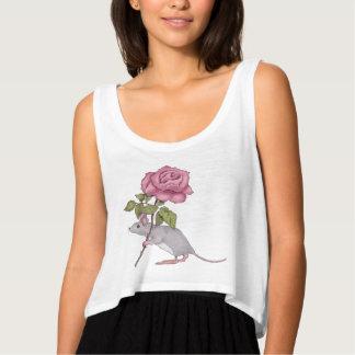 Musen med en rosa ros, illustrationen, färg ritar tank top med flowy crop