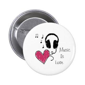Musik är kärlek standard knapp rund 5.7 cm