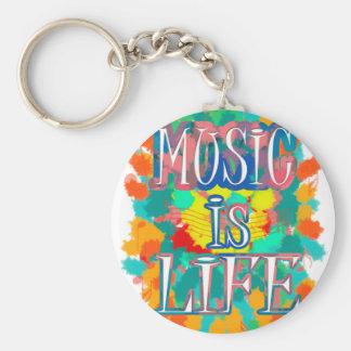 Musik är liv rund nyckelring