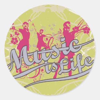 Musik är livT-tröja och gåvor Rund Klistermärke