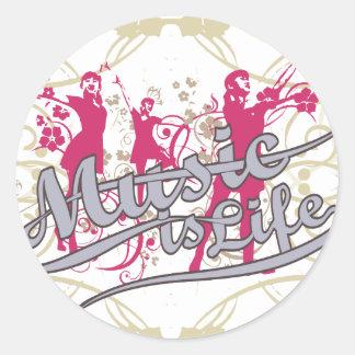 Musik är livT-tröja och gåvor Runda Klistermärken