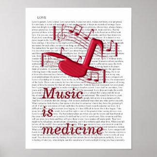Musik är medicinen - konsttryck poster