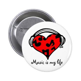 Musik är min liv-Klämmer fast Standard Knapp Rund 5.7 Cm