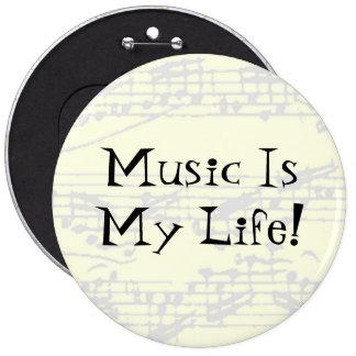 Musik är mitt liv jumbo knapp rund 15.2 cm