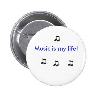 Musik är mitt liv! standard knapp rund 5.7 cm
