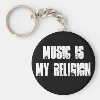 Musik är religionen Keychain 2,0 Rund Nyckelring