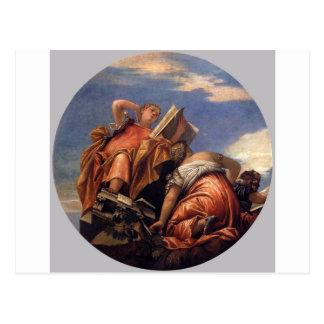 Musik, astronomi och bedrägeri av Paolo Veronese Vykort